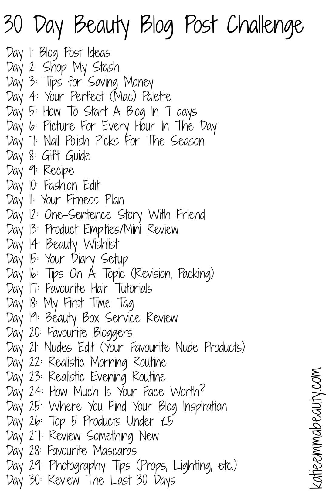 30 Day Beauty Blog Post Challenge