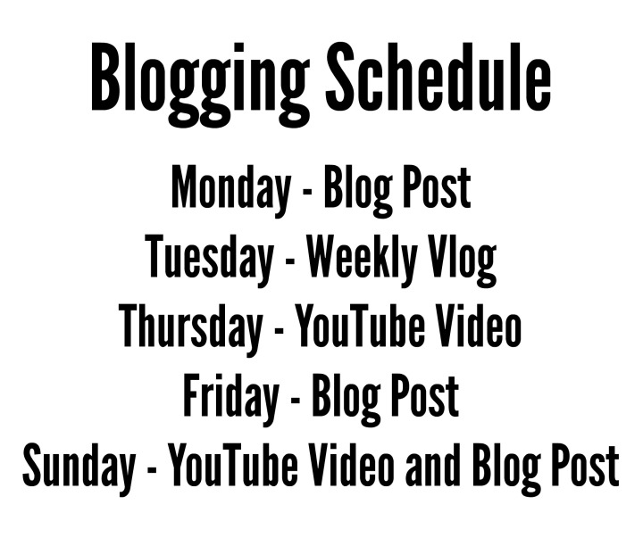 Blogging Post Schedule