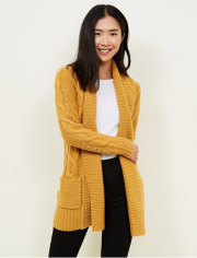 Mustard Shawl Collar Cable Knit Cardigan £24.99