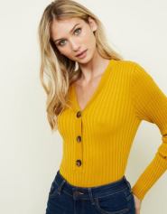Mustard Ribbed Half Button Front Jumper £17.99
