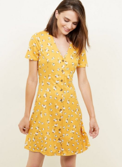 Yellow Floral Soft Touch Button Through Dress £17.99