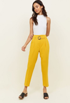 Yellow High Waist Belted Buckle Trousers £22.99