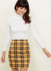 Mustard Check Mini Skirt £9.99
