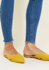 Yellow Suedette Cross Strap Pointed Mules £15.99